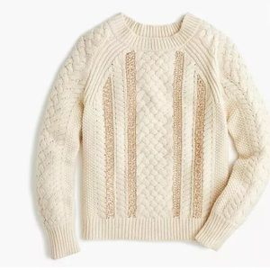 NWT J. CREW Merino wool Cable-knit sequin sweater